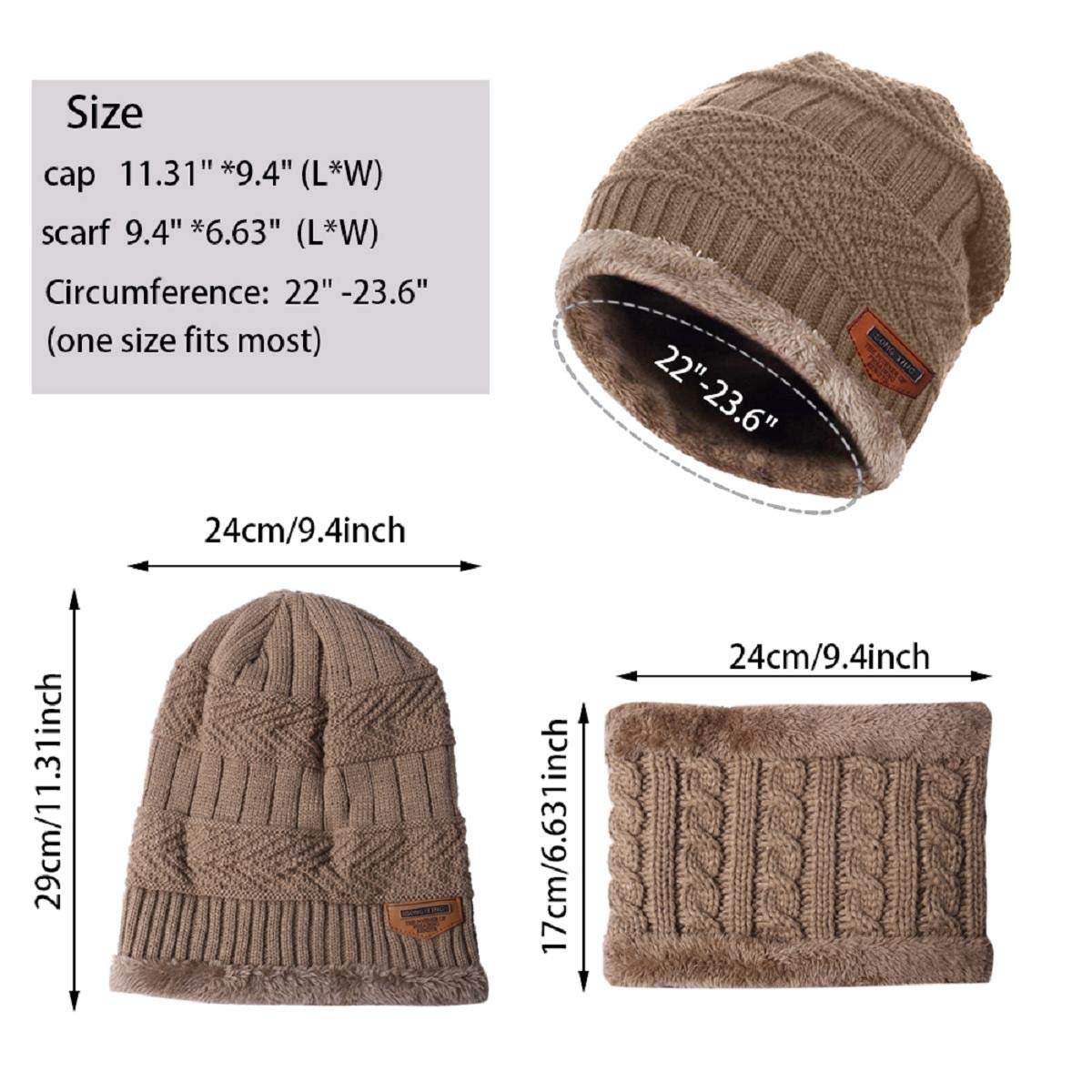 Abollria Beanie and Scarf Set for Men Women Knit Hats Skull Caps