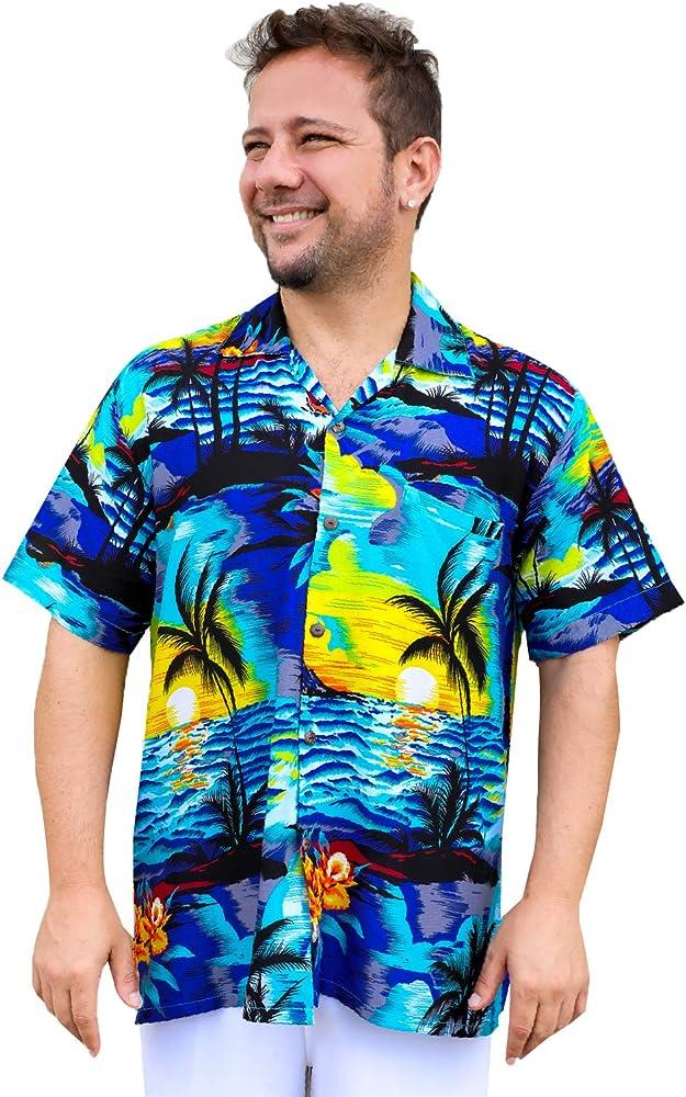 Uluwatu Collection Camisa Hawaiana Casual para Hombre con diseño de Palmera Tropical, Color Turquesa - Azul - Large: Amazon.es: Ropa y accesorios