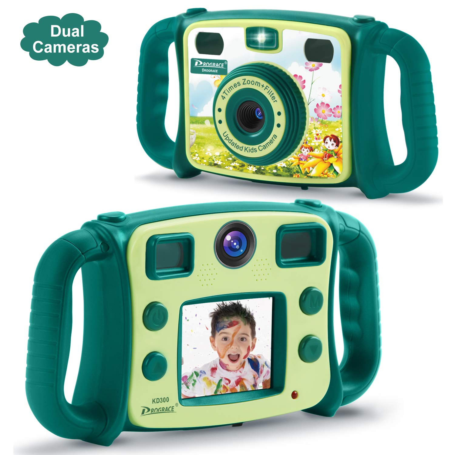 Prograce Kids Camera Dual Selfie Camera 1080P HD Video Recorder Digital Action Camera Camcorder for Boys Girls Gifts 2.0'' LCD Screen with 4X Digital Zoom and Funny Game(Green) by Prograce (Image #1)