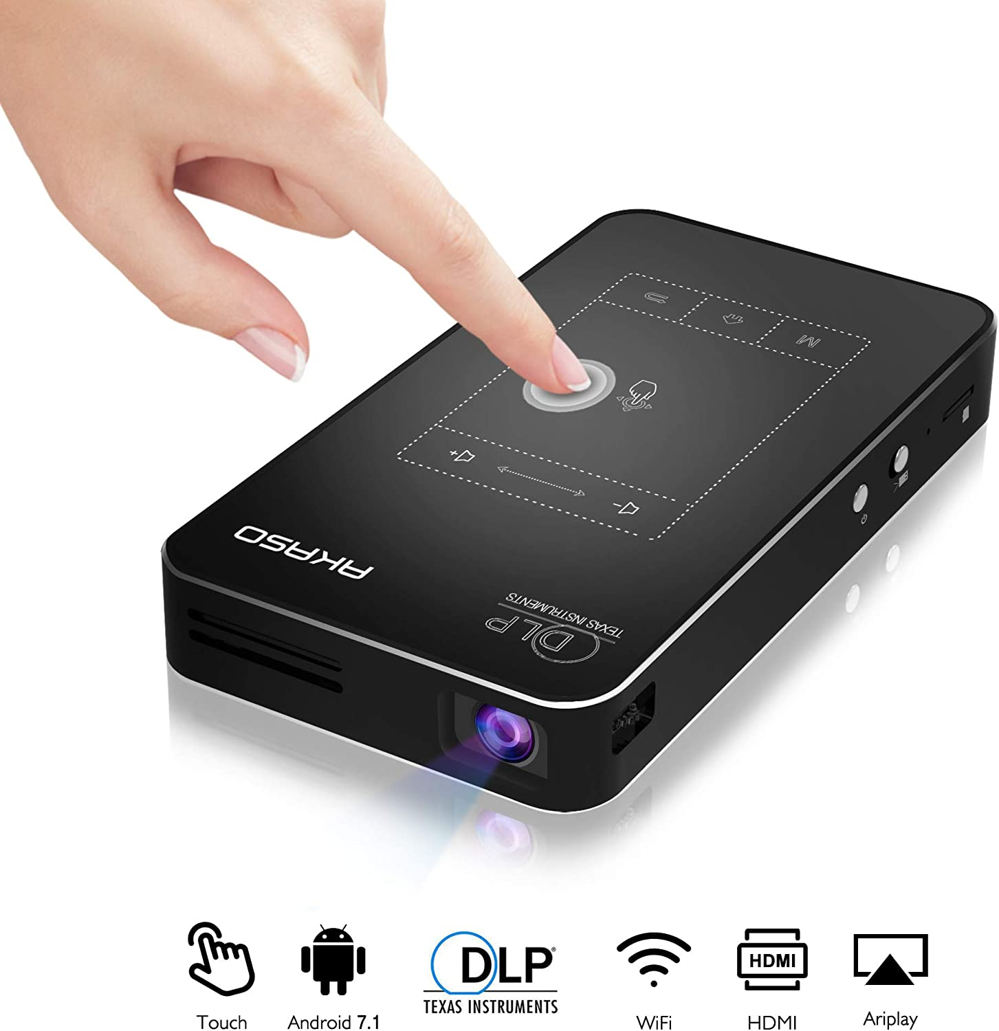 AKASO Mini Projector, WT50 DLP Portable Pocket Projector with WiFi, Android 7.1, Wireless and Wired Screen Sharing, Trackpad Design, 1080P Video Play, ...