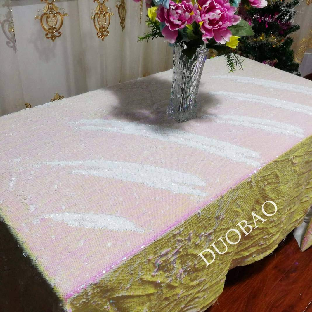 DUOBAO 72x108-InchRectangleSequinTableclothIridescent White to White Glitter Table Cloths Mermaid Sequin Table Cover for wedding/party/birthday-0612H