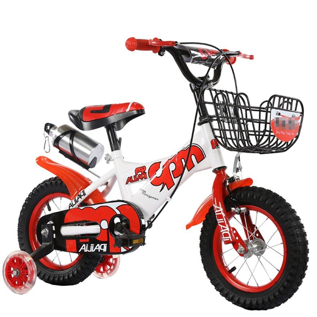 KANGR-子ども用自転車 子供用自転車適合2-3-6-8男の子と女の子子供用玩具屋外用マウンテンバイクのハンドルバー/サドルの高さは、フラッシュトレーニングホイールで調節可能ウォーターボトルとホルダー-12 / 14/16/18インチ ( 色 : 赤 , サイズ さいず : 18 inches ) B07BTWWXW9 18 inches|赤 赤 18 inches