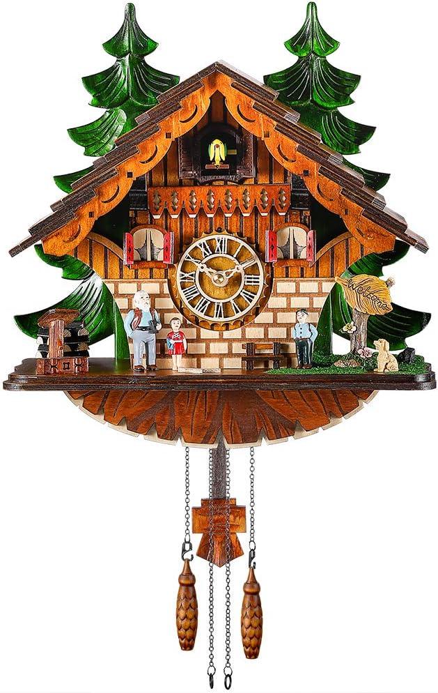 Kintrot Reloj de cuco Reloj de chalet tradicional de la selva negra Reloj de cuarzo artesanal Decoración de pared
