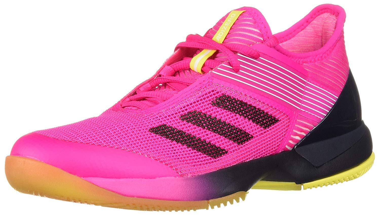 adidas Women's Adizero Ubersonic 3 Tennis Shoe Shock Pink/Legend Ink/White 5 M US