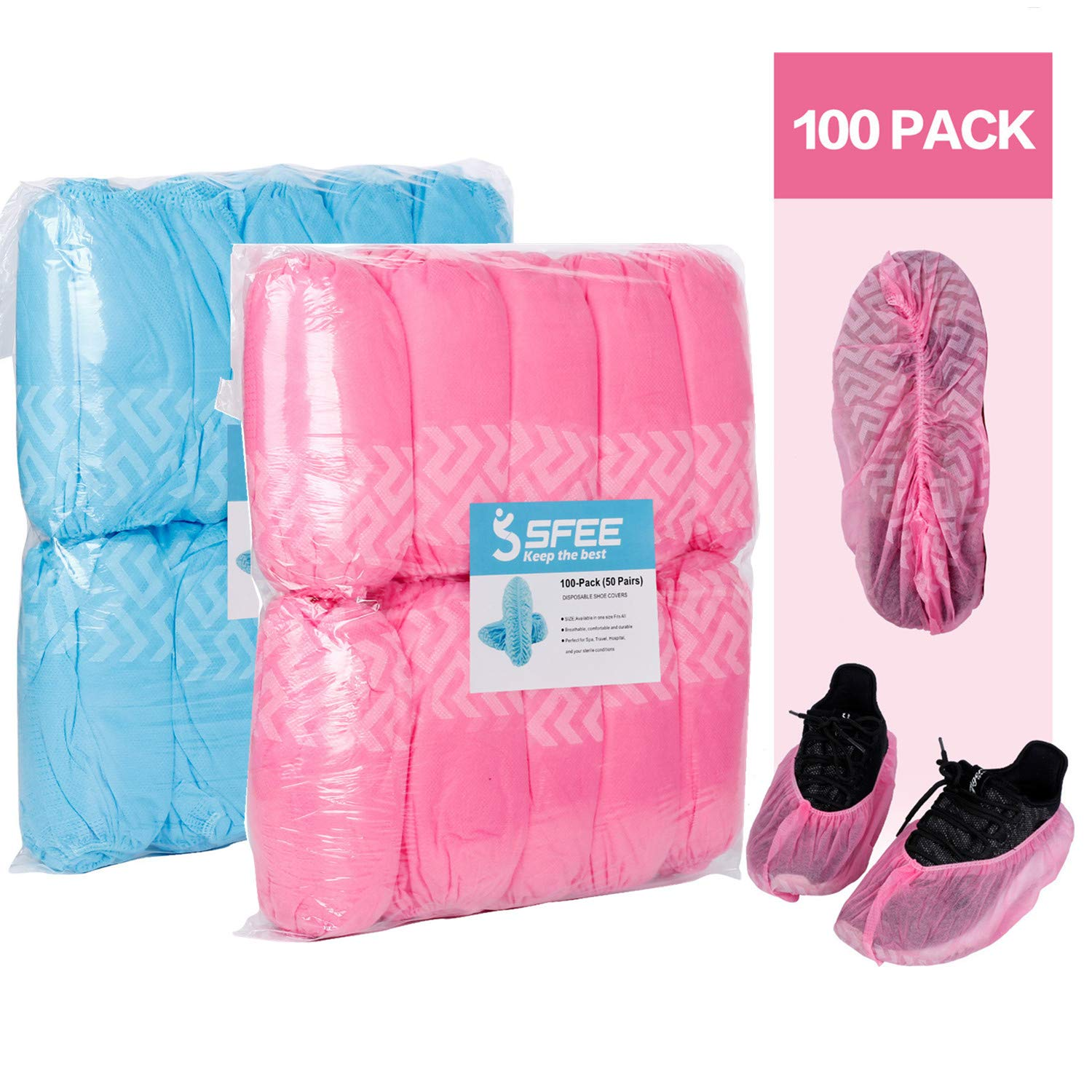 Sfee 100 Pack Shoe Covers-Disposable Hygienic, Non Slip, Durable,Water Resistance, Recyclable,Boot&Shoes Cover for Medical,Construction,Offices,Indoor Floor Carpet Protection,One Size Fits All(Pink)