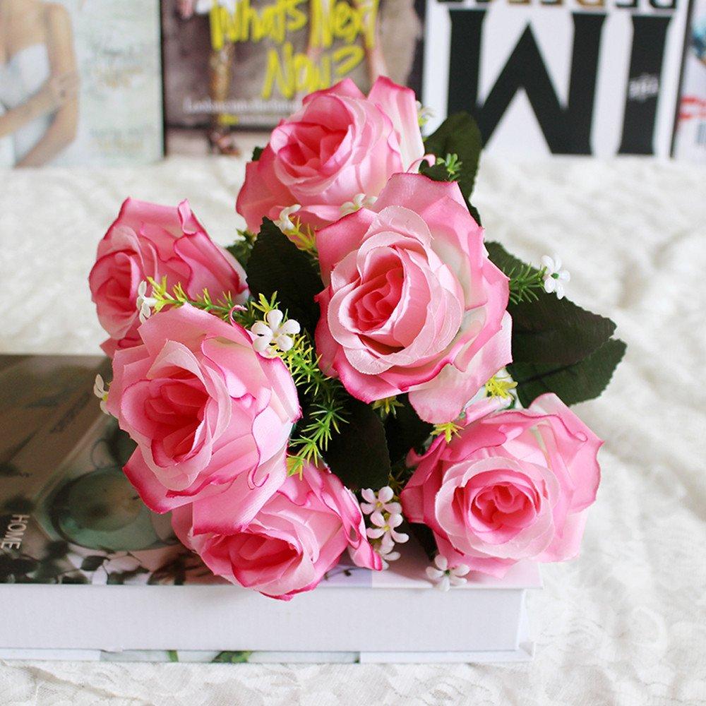 LtrottedJ 7本の造花 バラ ホームインテリア 花嫁 ウェディングブーケ 誕生日 フラワーブーケ ホテルパーティー ガーデン 45mm*45mm B07GP4351K F