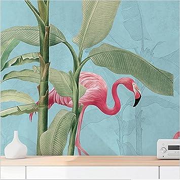 Wallpaper Wallpaper Nordic Style Tropical Plant Flamingo Wallpaper