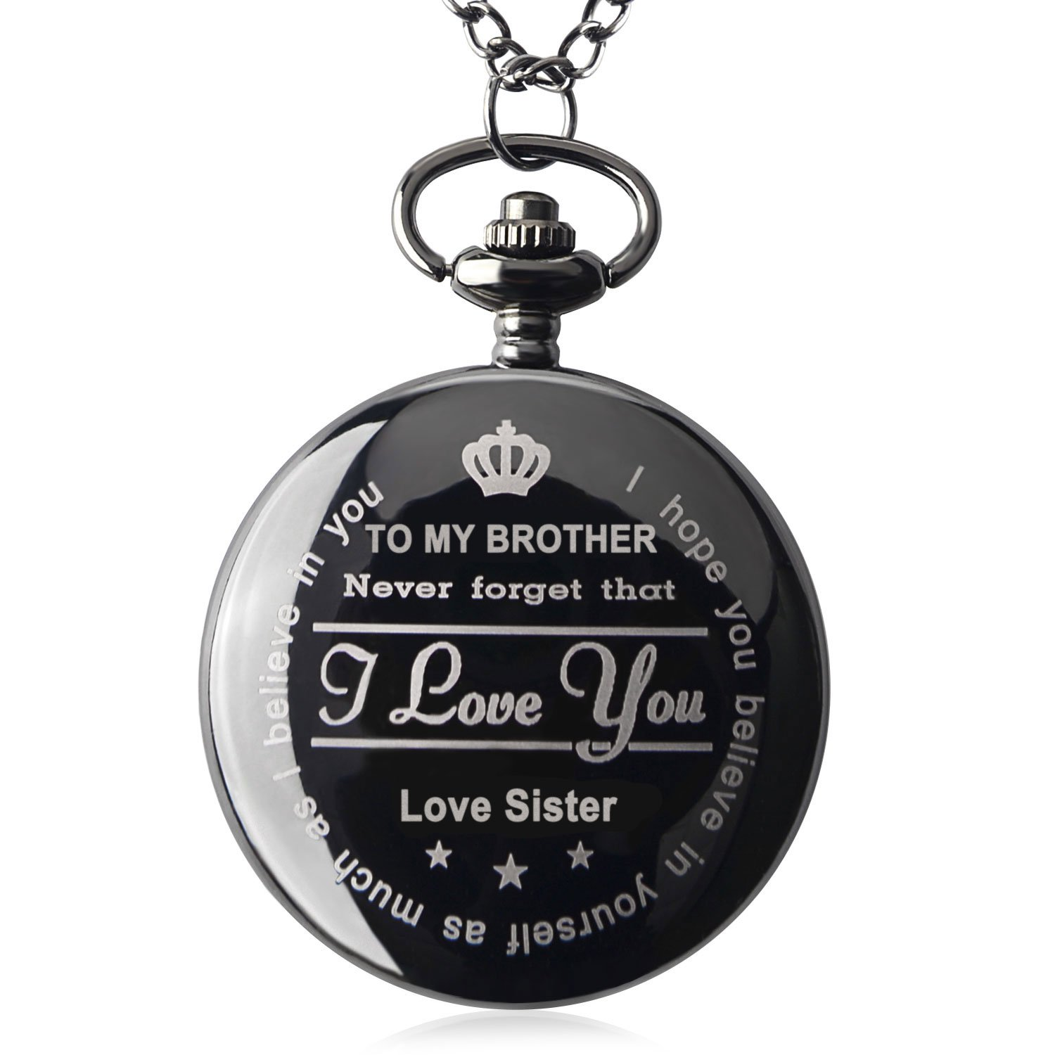 Qise Pocket Watch To My Brother - Love Sister(Love Brother) Necklace Chain From Sister to Brother Gifts with Black Gift Box By (Love Sister Black)