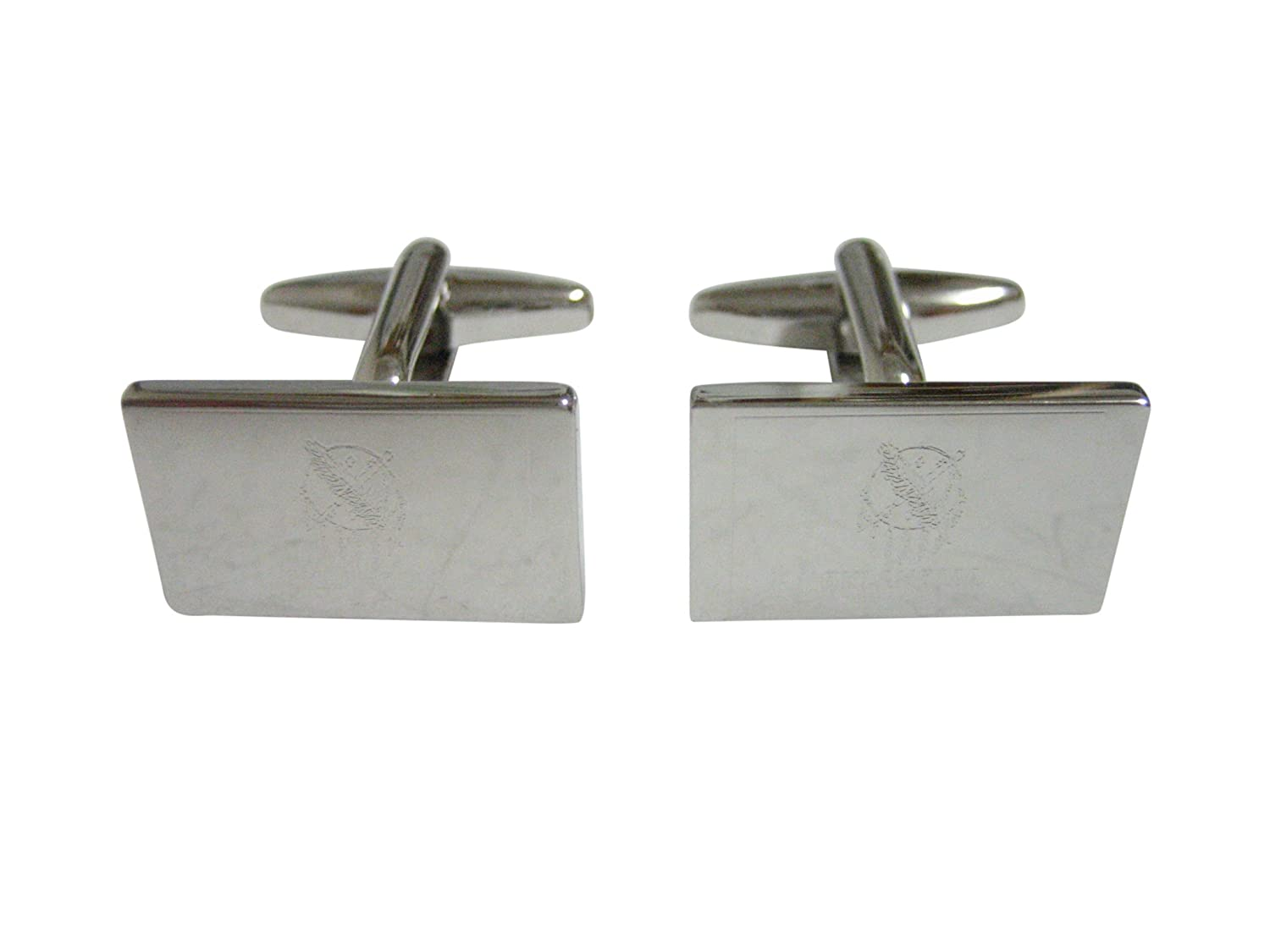 Silver Toned Etched Oklahoma State Flag Cufflinks