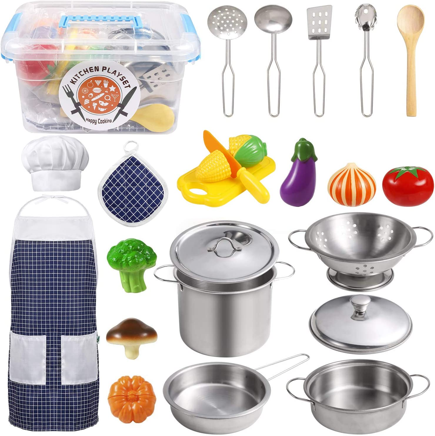 Amazon Com Kodatek Kids Kitchen Pretend Play Toys Kitchen Set With Stainless Steel Cooking Utensils Cookware Pots And Pans Set Healthy Vegetables Knife Apron Little Chef Boys Girls 24 Pieces Toys Games