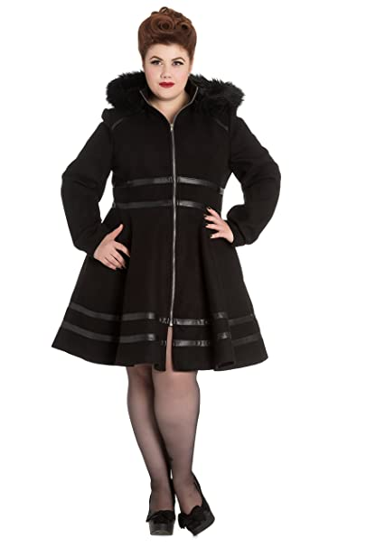 17de27fa237 Hell Bunny Plus Size Gothic Black Hooded Faux Fur Twilight Coat (2X) at  Amazon Women s Clothing store