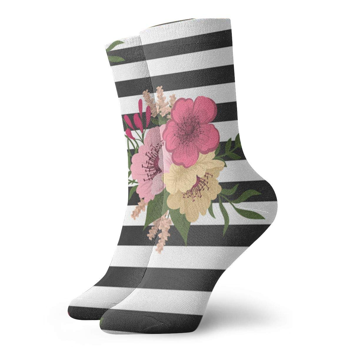 Seamless-floral-pattern Unisex Funny Casual Crew Socks Athletic Socks For Boys Girls Kids Teenagers