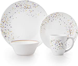Corelle Autumn Dance Chip & Break Resistant 16pc Dinner Set, Service for 4, Vitrelle glass