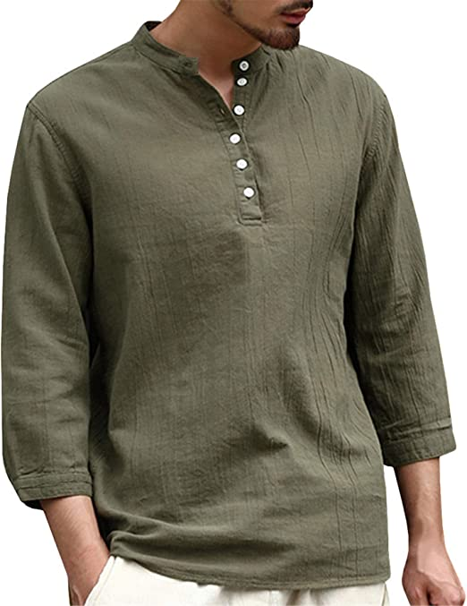 Cool Long Sleeve Loose Thin Men T-Shirt Deep V-Neck Tops Linen Size M