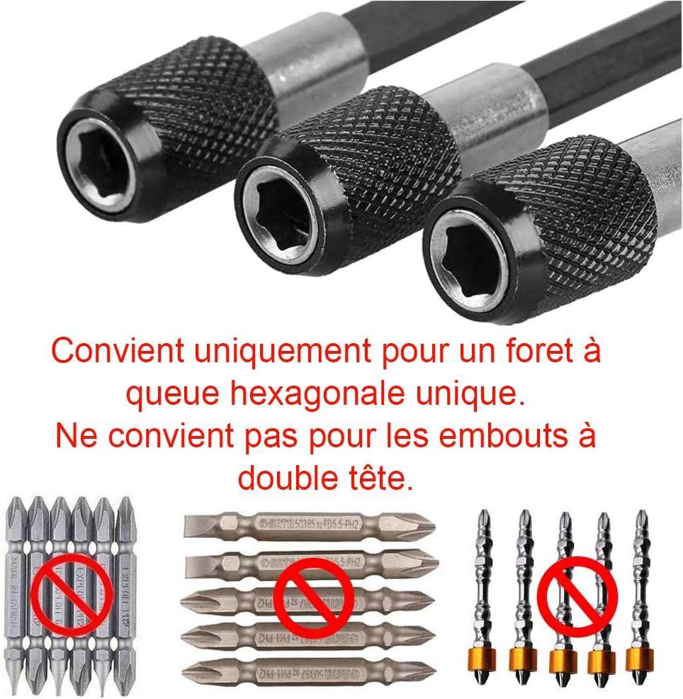 Longueur 60mm Bestgle 3pcs 6.35mm Hex Tige Porte-embout de tournevis magn/étique Embouts de Tournevis /à Douille pour Barre de D/égagement Rapide