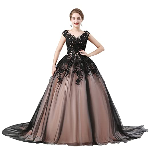 Womens Country Ball Gown Black Quinceanera Dress Long Train With