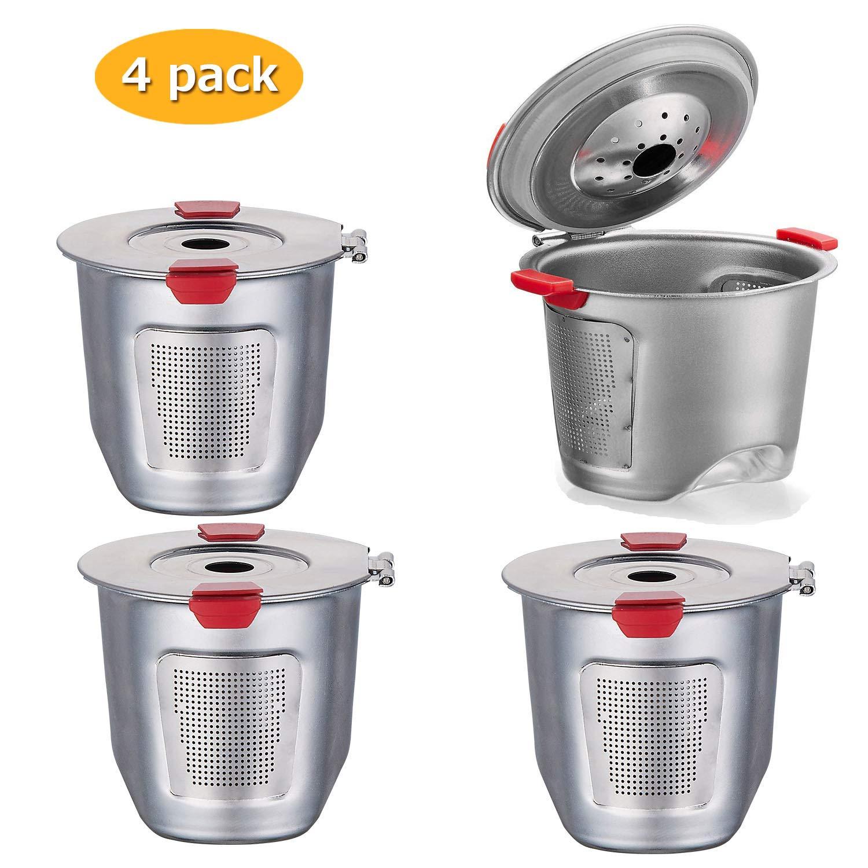 Reusable k Cups For Keurig 2.0 & 1.0 Coffee Machines Universal Stainless Steel Reusable Keurig Filter keurig Compatible K55 100% BPA-Free (4PC)