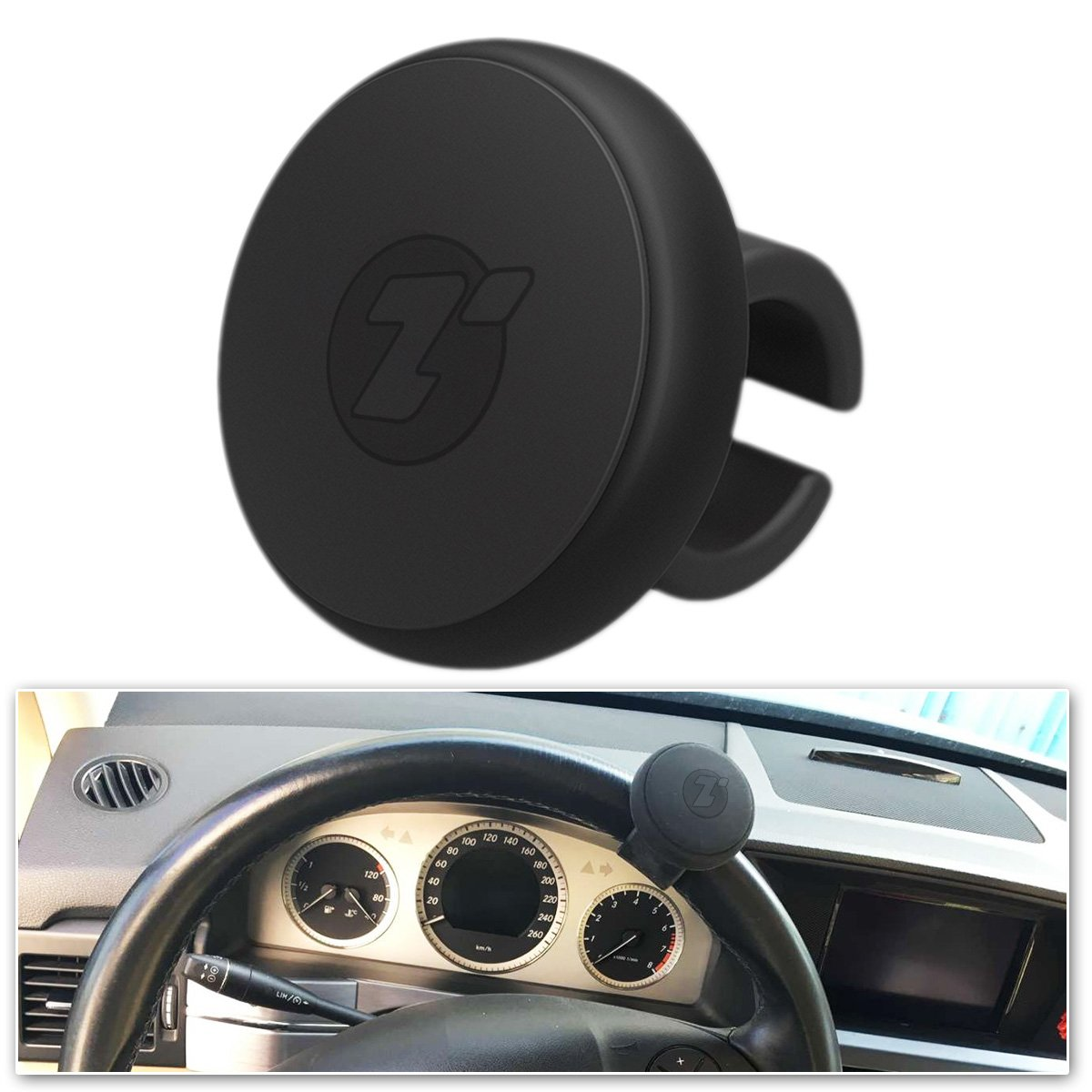 Zone Tech Silicone Power Handle Suicide Steering Wheels Power Knob Car Steering Wheel Spinner Black