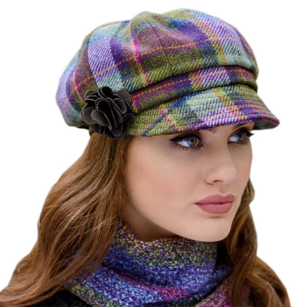 Mucros Weavers Ladies Plaid Newsboy Cap