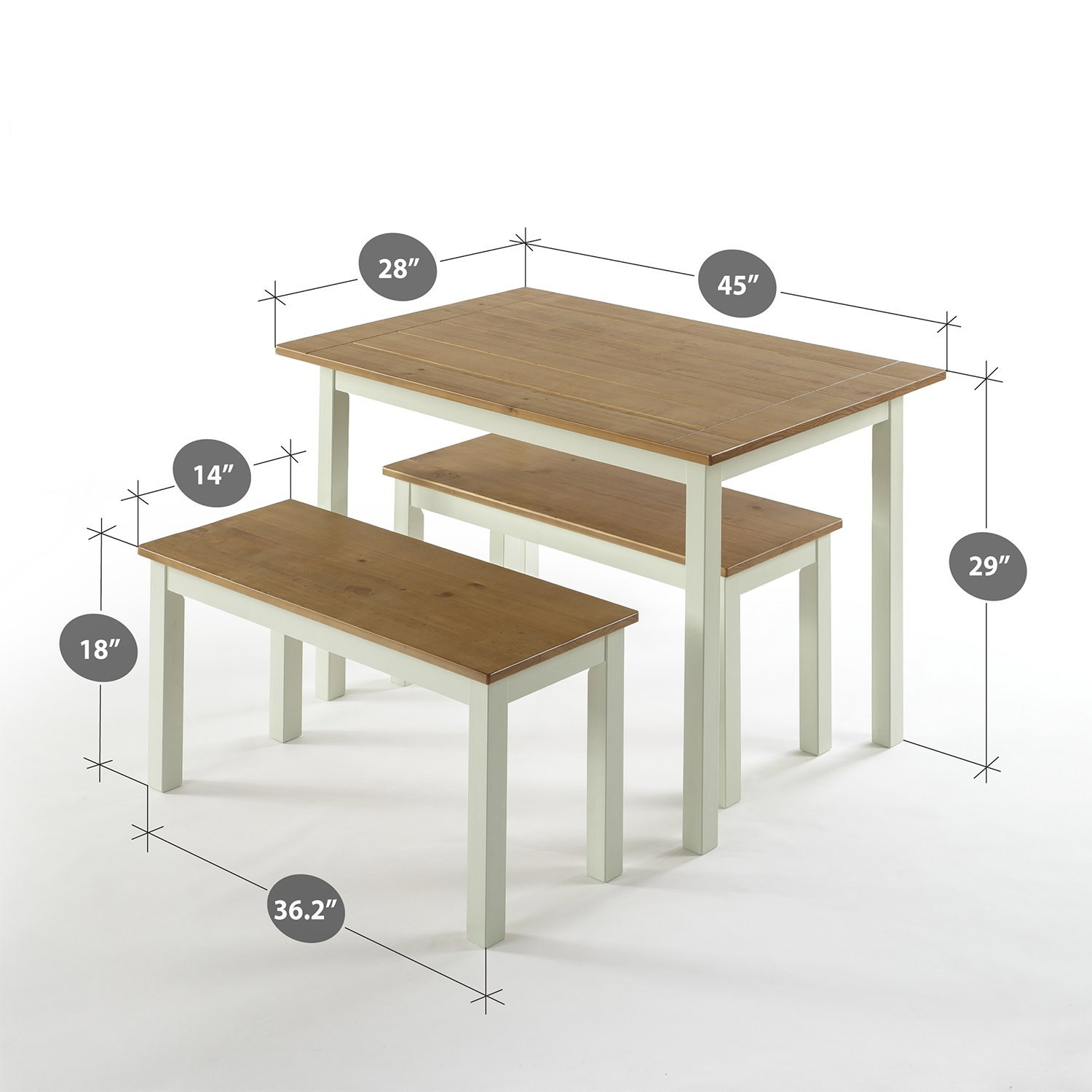 Zinus Farmhouse Dining Table Two Benches / 3 Piece Set OLB-DTS-F29
