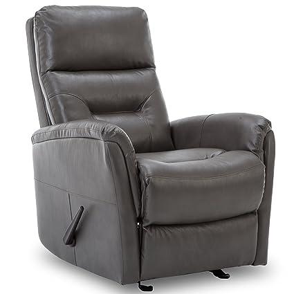 BONZY Recliner Chair Overstuffed Backrest Glider Chair   Gray Leather Chair