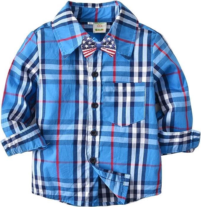 LAPLBEKE Niño Camisas de Manga Larga a Cuadros Corta con Botones Bebè Shirt Tops Algodón Blusa: Amazon.es: Ropa y accesorios