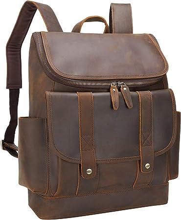 Bag Leather Backpack Men Satchel Shoulder Travel Laptop School Rucksack Vintage
