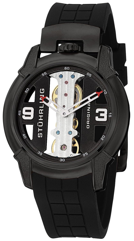 Stuhrling Raptor Herren-Armbanduhr 42mm Armband Silikon GehÄuse Vergoldetes Edelstahl Handaufzug 259.33561