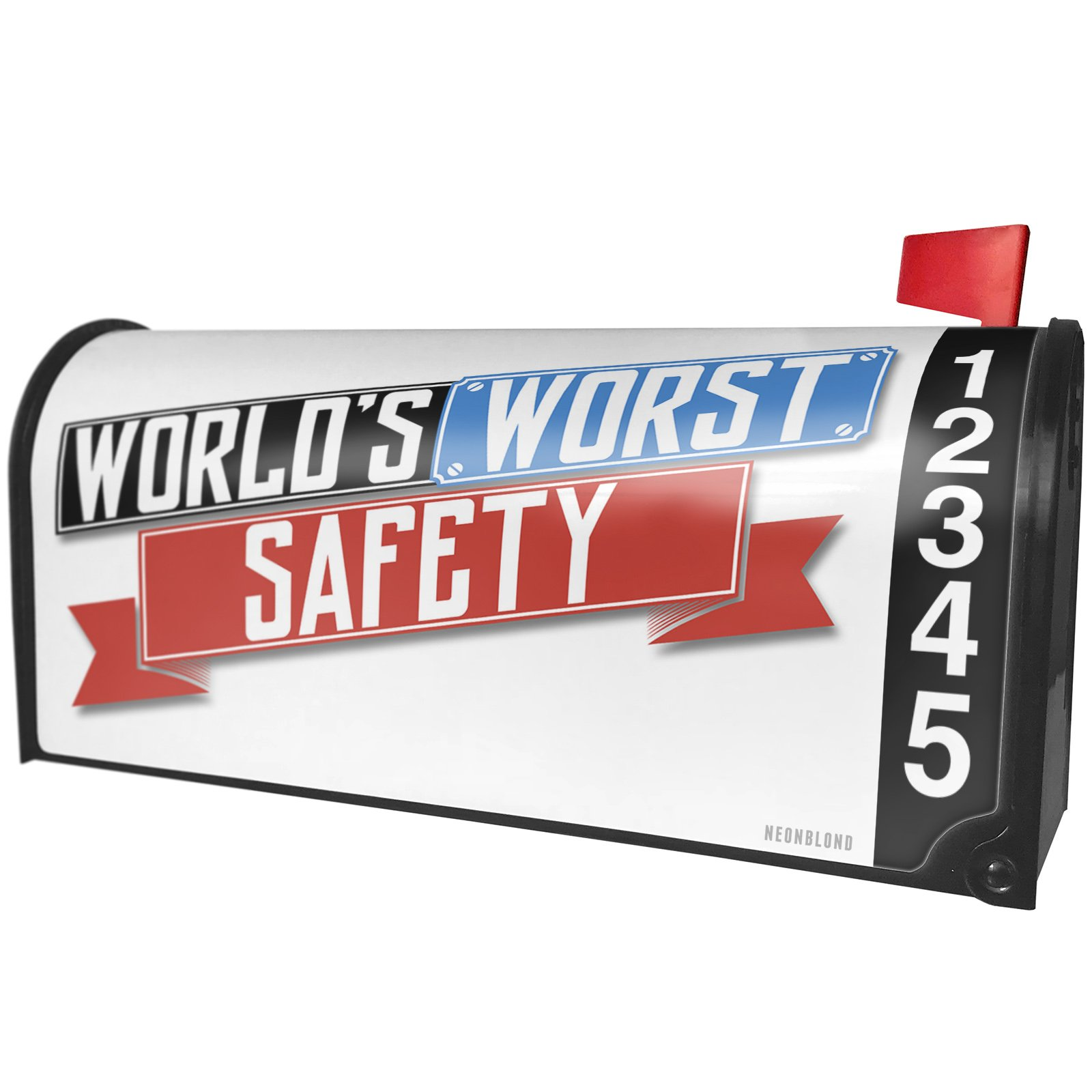 NEONBLOND Funny Worlds Worst Safety Magnetic Mailbox Cover Custom Numbers