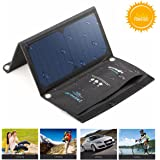 BlitzWolf 15W Solar Panel Phone Charger, 2-Port USB Solar Powered Portable Cellphone Charger 5V Foldable Outdoor Water Resistant SunPower Battery Charger for All Cellphone iPhone Samsung and More