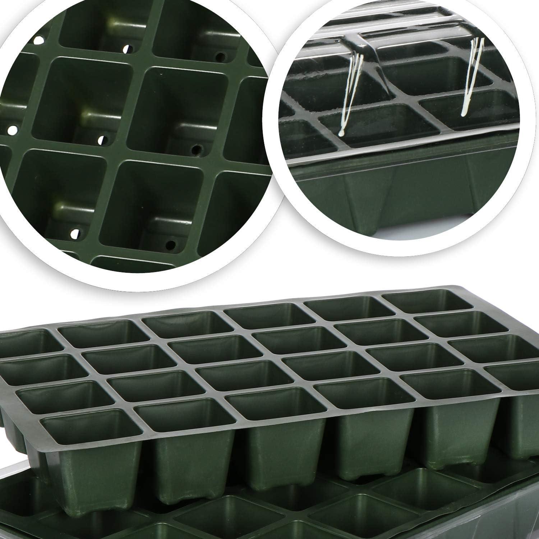 Tapa y 40 macetas con ba/ñera com-four/® 2X Caja de Cultivo para Cultivar un Total de 40 pl/ántulas: Conjunto de Cultivo para el balc/ón 2 Piezas - Caja de Planta 54x14.5cm