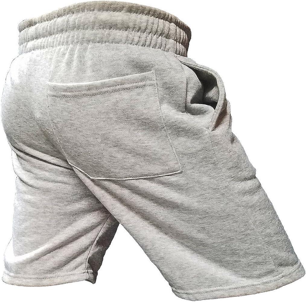 Mens American Flag Breast Cancer Ribbon B1029 Gray Fleece Jogger Gym Shorts