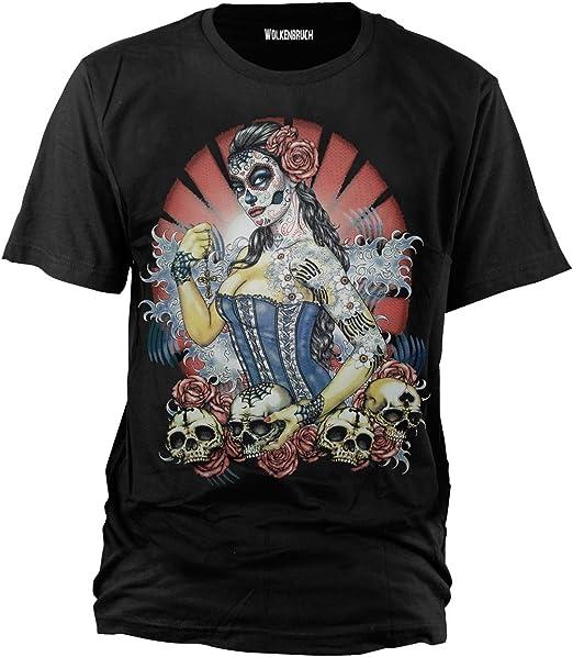 Wolkenbruch Camiseta con diseño de calaveras y mujer pin up tallas S - 5XL: Amazon.es: Libros