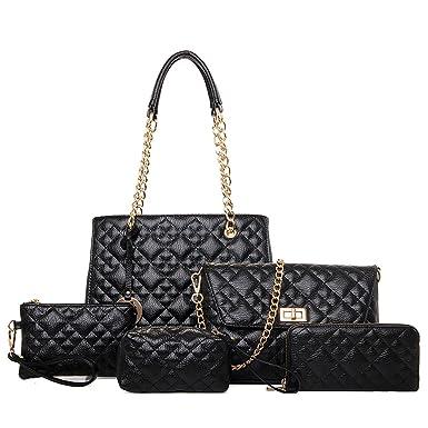 Frauen-PU-Leder-Handtaschen-neue Fünfteilige Sätze Gesteppte Ketten-Beutel-Art- Und Weiseschulter-Kurier-Beutel-Mutter-Paket,Bronze-OneSize Addora
