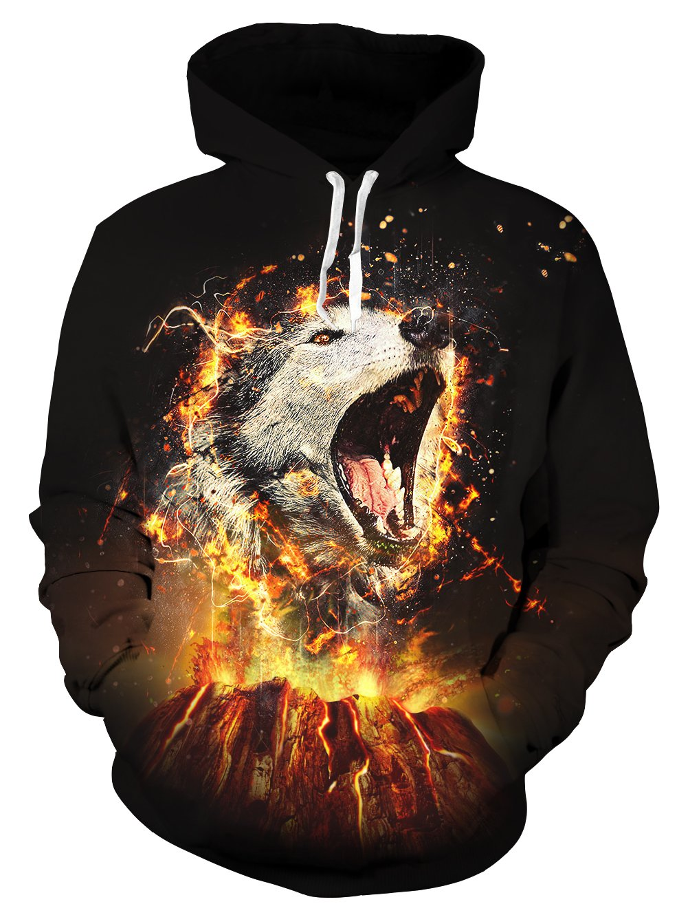Leapparel Men Flame Wolf Pullover Hoodie Cool Print Fleece Hoodies Long Sleeve 3D Sweatshirt