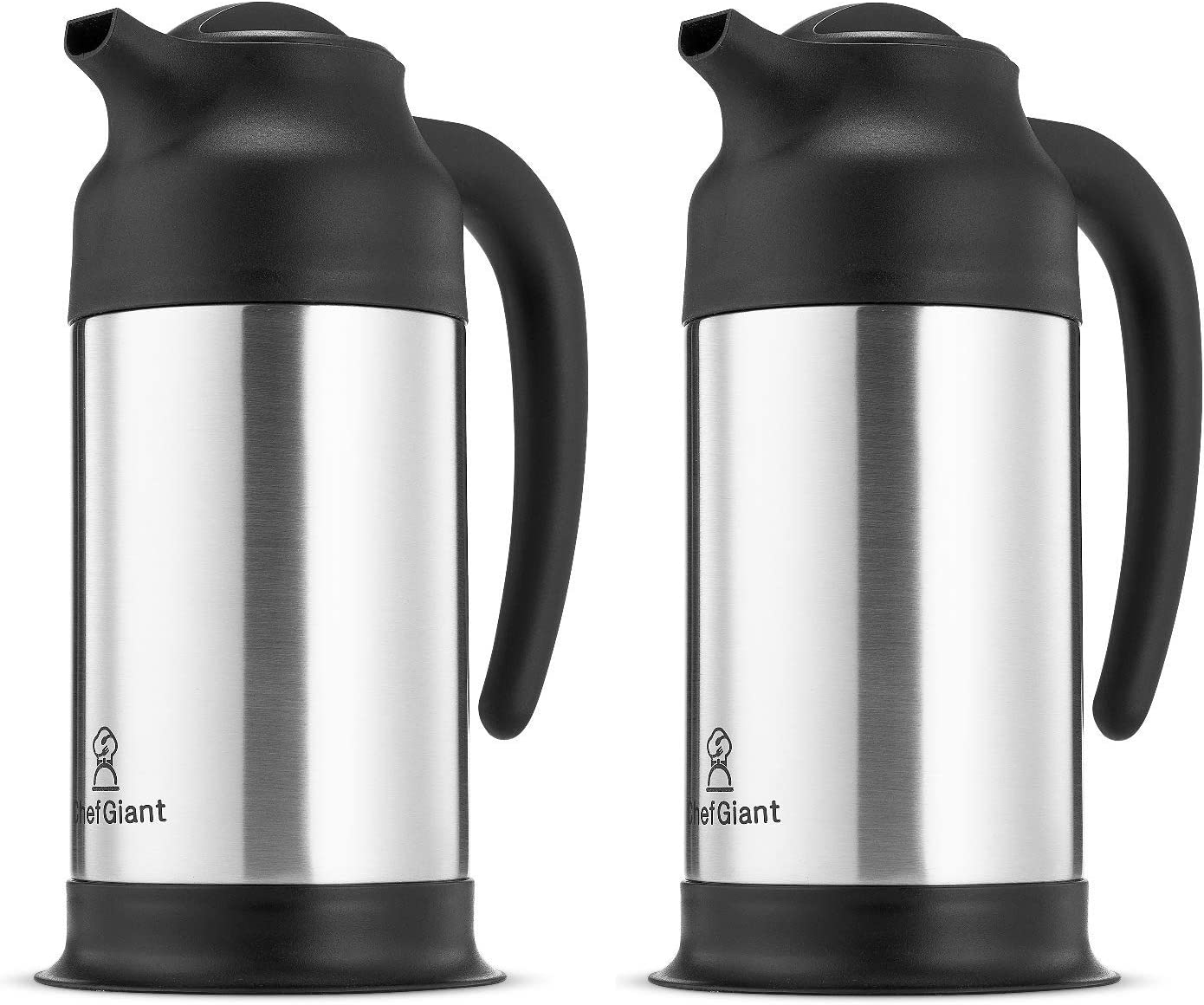 Stainless Steel Thermal Coffee Carafe Thermos|Insulated Hot & Cold Beverage Pitcher Dispenser w/ Milk Server |24 OZ. 3 CUP Small Design for Easy Handle & Travel |Twin Pack