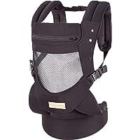 Portabebés con asiento de cadera ajustable, portabebés con capucha, suave y transpirable, mochila delantera y trasera para bebés hasta 3.2lbs, color negro