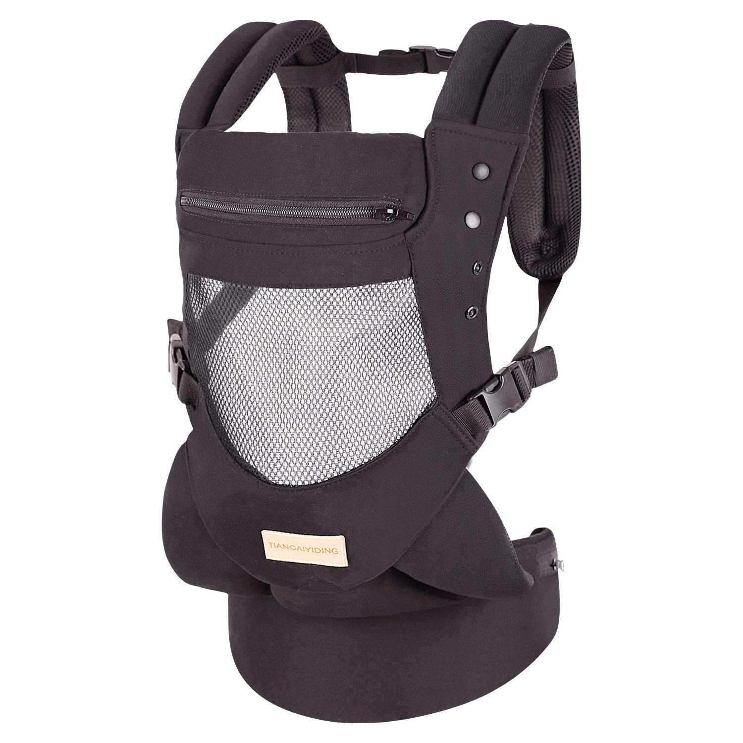 Infant Toddler Baby Carrier Wrap Backpack Front and Back, Hip Seat Hood, Soft Breathable Cotton, Cool Air Mesh, Black