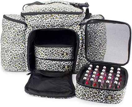Roo Beauty Bags, Beauticians and Manicurist Makeup Tool Bag, Professional Cosmetics Case in Belita Design In Snow Leopard