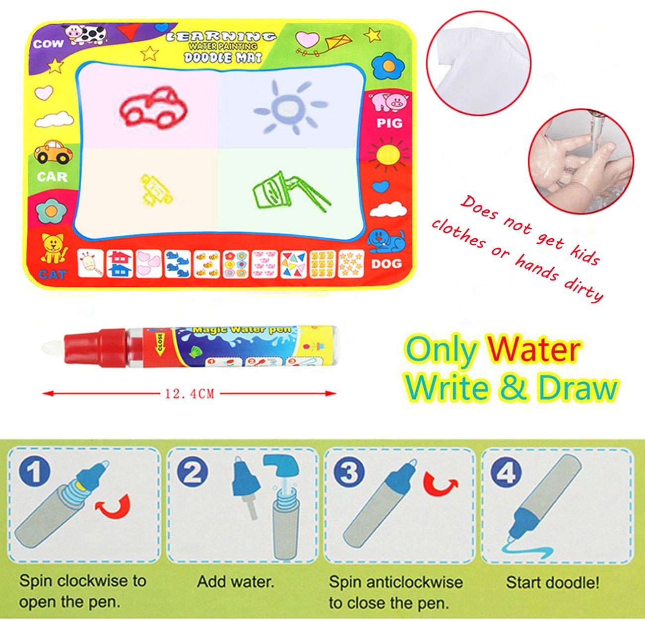 4 Wate TQP-CK Doodle del Aqua Ni/ños Toy Juguetes Dibujo Mat Magic Pen Educativa 1 Mat