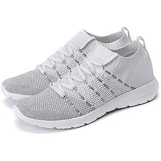 PresaNew Women's Walking Shoes Slip On Athletic Running Sneakers Knit Mesh Comfortable Work Shoe 9 US White