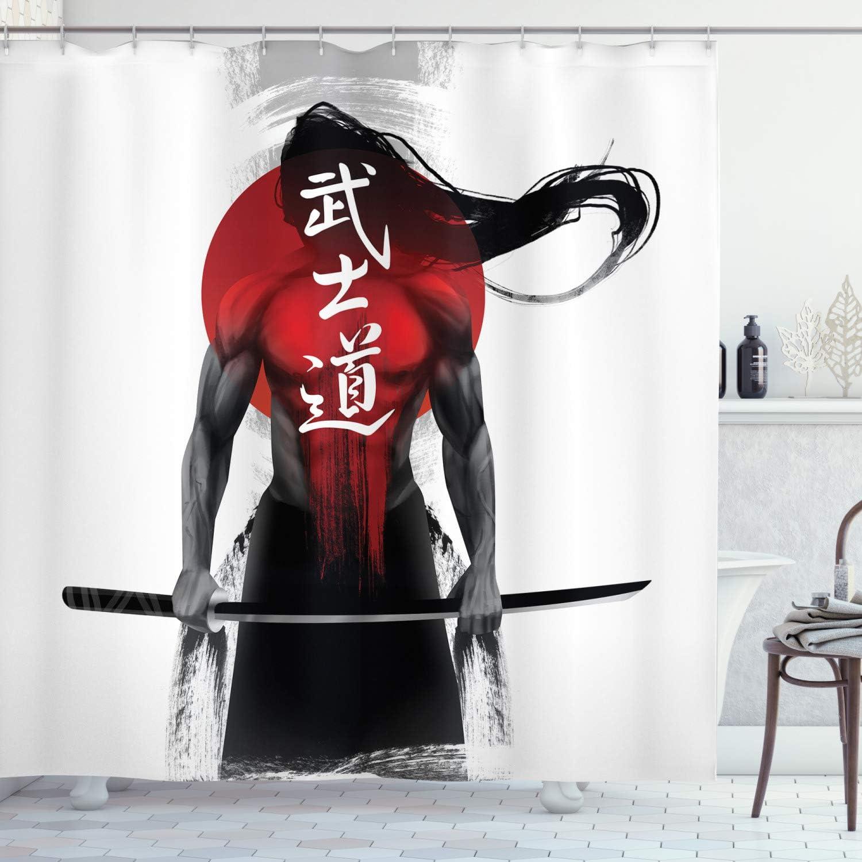 Ambesonne Japanese Shower Curtain, Samurai Sunburst BackgroundRonin Japan Indigenous Cultures Theme, Cloth Fabric Bathroom Decor Set with Hooks, 70