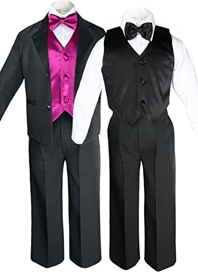 Unotux 7pc Boys Silver Suit with Satin Dark Gray Vest Set from Baby to Teen