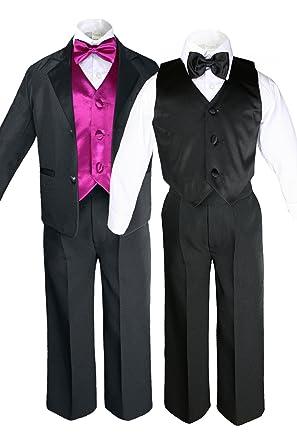 Amazon.com: unotux 7pc Formal Boy negro fucsia traje ...