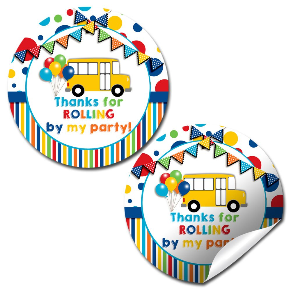 Wheels On The Bus Thank You Sticker Labels, 20 2'' Party Circle Stickers by AmandaCreation, Great for Party Favors, Envelope Seals & Goodie Bags