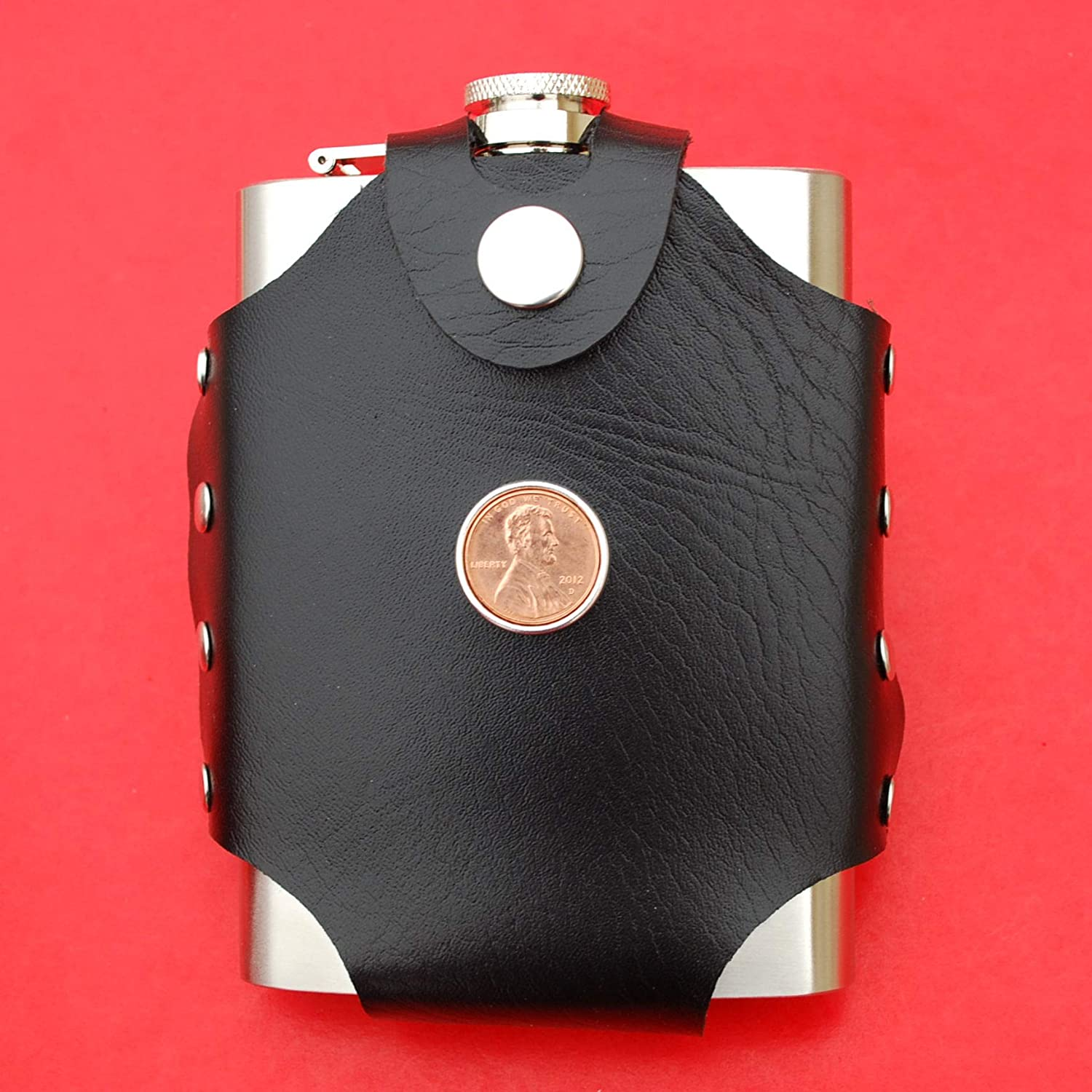 Liquor Wine etc - Lucky Penny US 2012 Lincoln Penny BU Uncirculated 1 Cent Coin Leak Proof Black PU Leather Wrapped Stainless Steel 8 Oz Hip Flask Water
