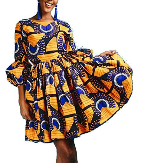 354a013f538af Alion African Dresses for Women, Dashiki Print 3/4 Sleeve Pleated Swing  Cocktail Dress at Amazon Women's Clothing store: