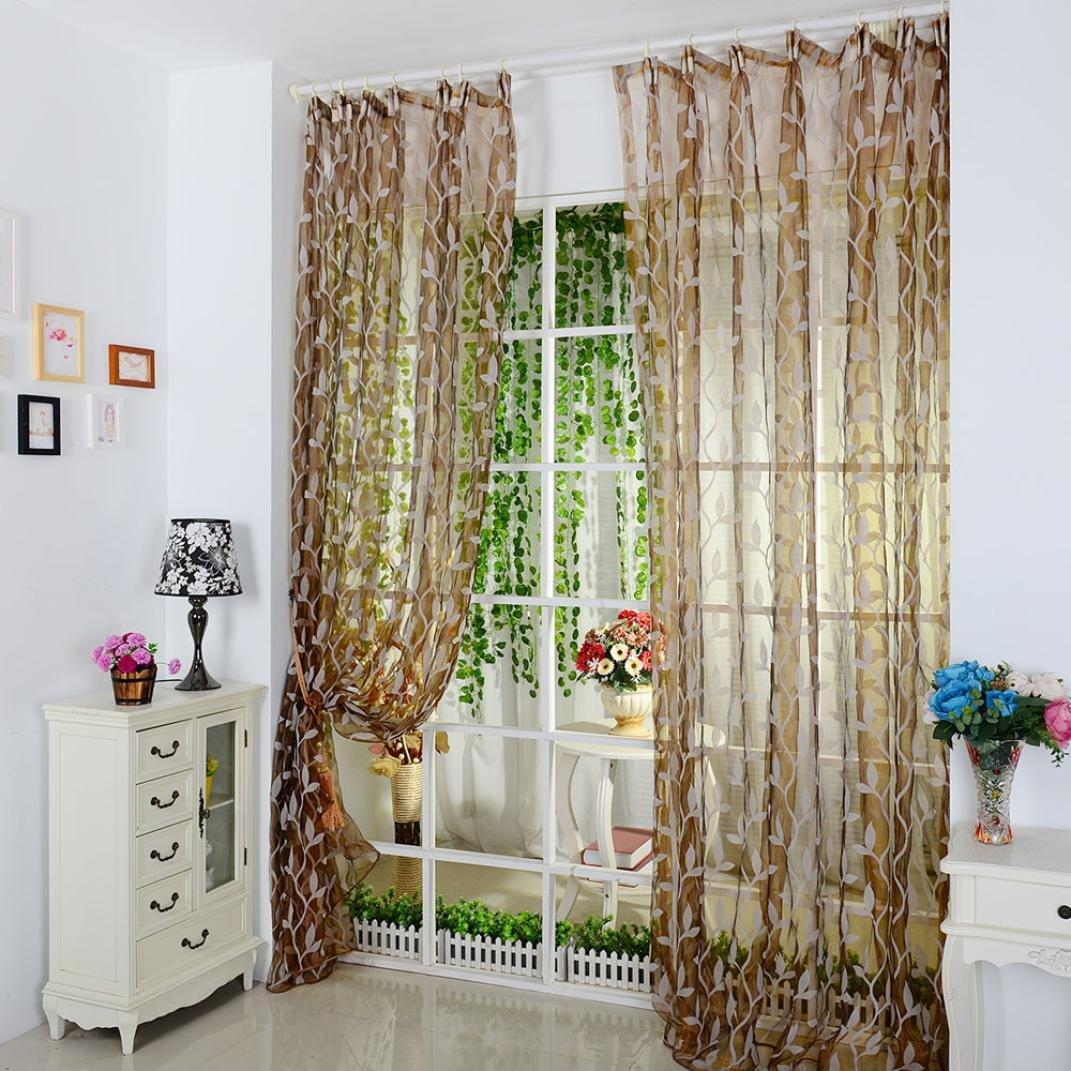 TPulling Die Vorhä nge Zuschlagen Blatt-bloß e Vorhang-Tü ll-Fensterbehandlungs-Voile Drapieren Volant 1 Platten-Gewebe (Gelb)
