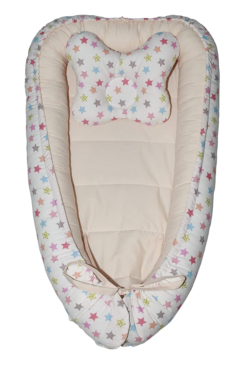 CraftSpace Deluxe Baby Set Ivory//Ivory stars Double-sides Cotton and Hypoallergenic filler 80cm x 50cm. for newborn babies Various Designs Lounger + Pillow