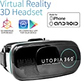 Utopia 360° VR Headset   3D Virtual Reality Headset for VR Games, 3D Movies, and VR Apps - Compatible with iPhone and Android Smartphones (2018 Virtual Reality Headset Model)